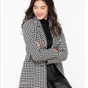 Houndstooth Button Front Car Coat